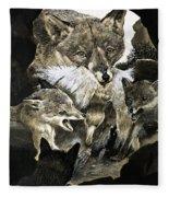 Fox Delivering Food To Its Cubs  Fleece Blanket