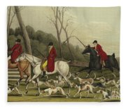 Fox Hunting Going Into Cover Fleece Blanket