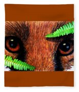 Fox In Hiding Fleece Blanket