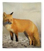 Fox In The Snowstorm - Painting Fleece Blanket