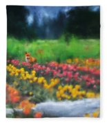 Fox Watching The Tulips Fleece Blanket