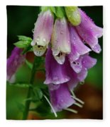 Foxgloves In The Rain Fleece Blanket