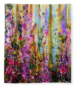 Foxgloves Panel One Fleece Blanket