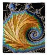 Fractal Art - Blue And Gold Fleece Blanket