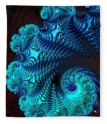 Fractal Art - Blue Wave Fleece Blanket