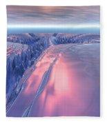 Fractal Glacier Landscape Fleece Blanket
