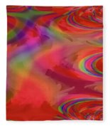 Fractal Red Fleece Blanket