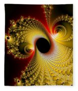 Fractal Spiral Art Yellow Red Metal Effect Fleece Blanket