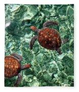 Fragile Underwater World. Sea Turtles In A Crystal Water. Maldives Fleece Blanket