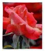 Fragmented Pink Rose Fleece Blanket