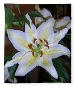 Fragrant White Lily Fleece Blanket