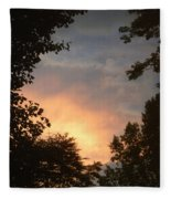 Framed Fire In The Sky Fleece Blanket