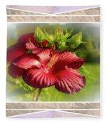 Framed Red Hibiscus Fleece Blanket