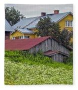 Framehouses In Finland Fleece Blanket