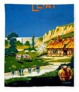 France Normandy Vintage Travel Poster Restored Fleece Blanket