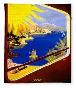 France Vintage Travel Poster Restored Fleece Blanket