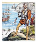 Francis Drake And The Golden Hind Fleece Blanket