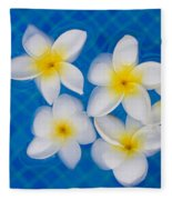 Frangipani Flowers In Water Fleece Blanket