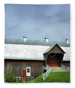 Franklin Barn By The Lake Fleece Blanket