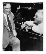 Franklin Roosevelt And Fiorello Laguardia In Hyde Park - 1938 Fleece Blanket