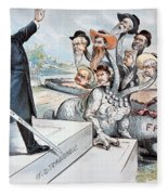 Free Silver Cartoon, 1895 Fleece Blanket