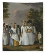 Free Women Of Color With Their Children And Servants In A Landscape Fleece Blanket
