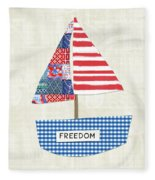 Freedom Boat- Art By Linda Woods Fleece Blanket