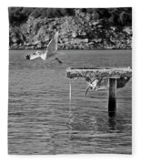 Freedom Is A Seagull Name Black And White Fleece Blanket