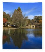 Freedom Park Bridge And Lake In Charlotte Fleece Blanket