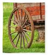 Freight Wagon Wheel Fleece Blanket