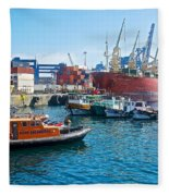 Freighter And Shipping Containers In Port Of Valpaparaiso-chile Fleece Blanket