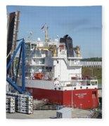 Freighter In Lock Of Saint Lawrence Fleece Blanket