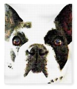 French Bulldog Art - High Contrast Fleece Blanket