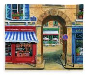 French Butcher Shop Fleece Blanket