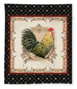 French Country Roosters Quartet Black 3 Fleece Blanket