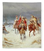 French Forces Crossing The River Berezina In November 1812 Fleece Blanket
