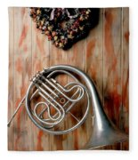 French Horn Hanging On Wall Fleece Blanket
