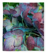 French Hydrangea Rainbow Fleece Blanket