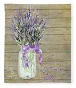 French Lavender Rustic Country Mason Jar Bouquet On Wooden Fence Fleece Blanket