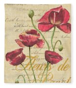 French Pink Poppies Fleece Blanket