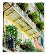 French Quarter Balconies - Nola Fleece Blanket