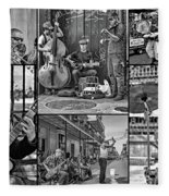 French Quarter Musicians Collage Bw Fleece Blanket