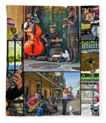 French Quarter Musicians Collage Fleece Blanket