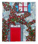 French Stone House And Rose Trellis Fleece Blanket