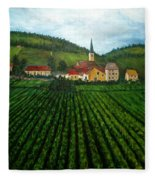 French Village In The Vineyards Fleece Blanket