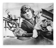 French World War Two Postcard Celebrating The British Bulldog As A Mascot For The Royal Air Force Fleece Blanket