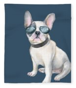 Frenchie French Bulldog Aviators Dogs In Clothes Fleece Blanket
