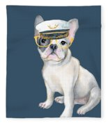 Frenchie French Bulldog Yellow Glasses Captains Hat Dogs In Clothes Fleece Blanket