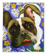 Frenchie Plays With Frogs Fleece Blanket
