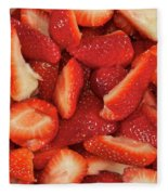 Fresh Cut Strawberries Fleece Blanket